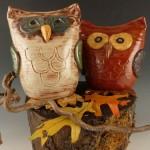 Ceramic Owl Banks by Sue Baldwin $42