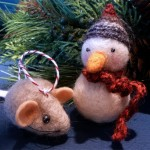 Needle felted mouse ($8) and snowman ($16) ornaments by Kristen Etmund.