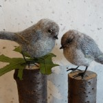 Needlefelted wool and embroidered Bushtits by Kristen Etmund
