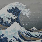 The Wave At Childhiood's End is a depiction of a the iconic woodblock by Hokusai, painted by Olympia's Joe Tougas.