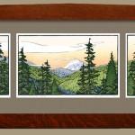"""""""Mount Rainier at White Pass"""" - Block print by Yoshiko Yamamoto"""