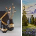 "New pottery from Loren Lukens - ""Mountain Meadow"" watercolor by Julie Creighton -"