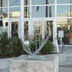 """Colleen Cotey's """"Olympia Oyster"""" on display outside City Hall."""