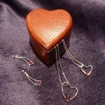 Garnet & sterling silver jewelry from McKenzie Jewelers and wooden keepsake box by Jorgensen Woodworking, $40 -$95.