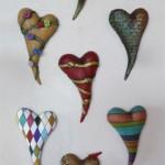 Ceramic harts by Jaquline Hurlbert $75
