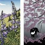 Detail of block print by Yoshiko Yamamoto and papercut by Aki Sogabe.