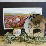 """""""Tulip Fields - Morning """" block print by Yoshiko Yamamoto and Ducklings and bunnies pottery from Cary Lane."""