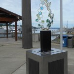 """""""Fossil II, a collaborative sculpture by Lin Mckjunkin & Milo White can be viewed at Percival Landing."""