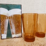 Glass tumblers from Fire & Light, copper & glass tile by Houston Llew and handmade, figured  maple table by Bill Bolstad.