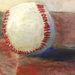 """""""B-ball"""" -  pastel, graphite and thread painting by Barbara Noonan."""
