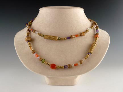 Necklace with Amethyst, Carnelian, Peridot, & Brass Beads