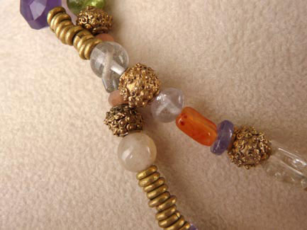 Dannielle Carbone- Necklace with Amethyst, Carnelian, Peridot, & Brass Beads