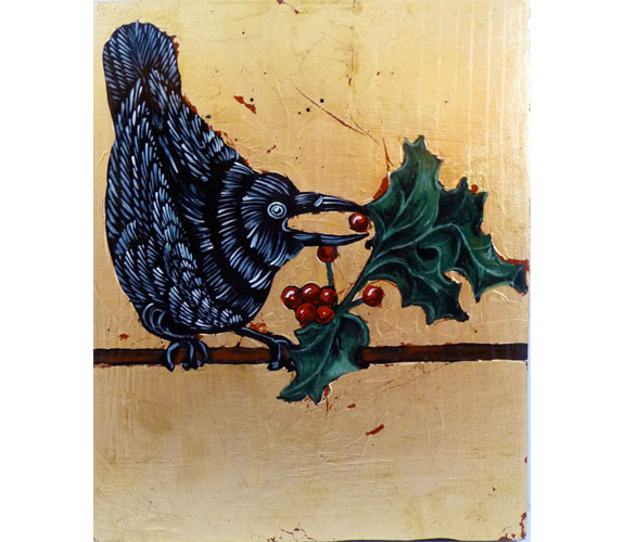 """Winter Crow with Holly"" Gold leaf & Mixed Media on Wood"