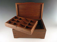 "Sapelle Jewelry Box with Burl Lid & Walnut Accents. 6""x9""x4"" with Interior Tray."