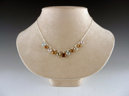 Sterling Silver, Whisky Blue Topaz & Amethyst Necklace