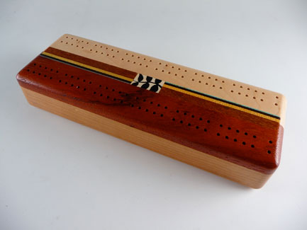 "Inlaid Paduak & Maple Cribbage Board with Sliding Top, Cards & Pegs. 10"" x 3.5"" x 1.75"""