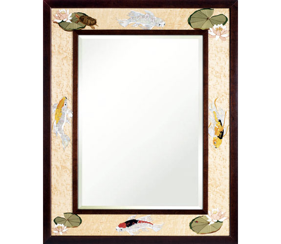 Marquetry Koi Mirror by Hudson River Inlay