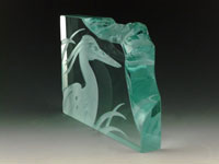 "Etched Glass Heron Sculpture. 4"" Tall, 6"" Long & 5/8"" Deep."