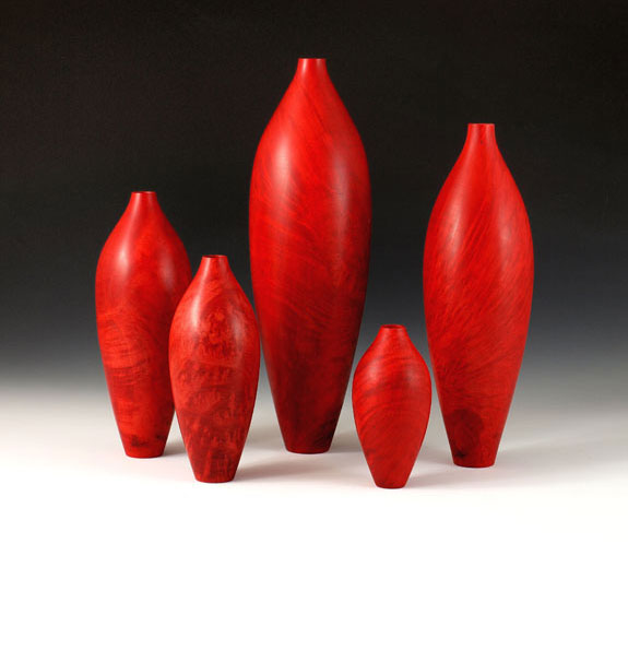 Dave Schweitzer - Red Dyed Madrone Bottles - set of 5