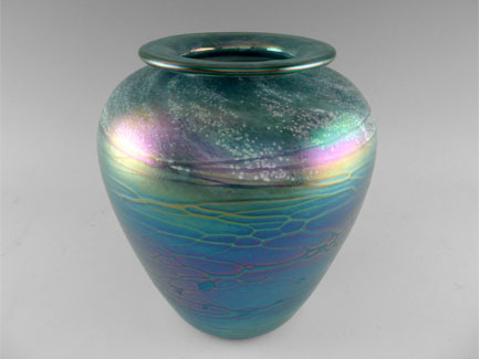Teal Blown Glass Luster Vase