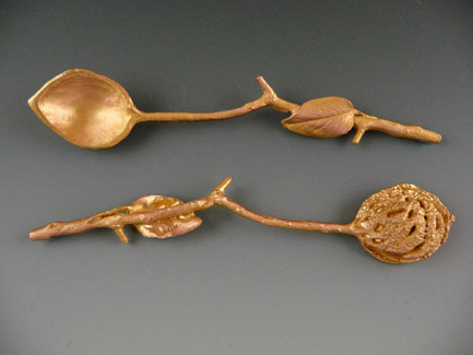 "Set of 2 Peach Pit Spoons. Food Safe Finish. 5"" Long."