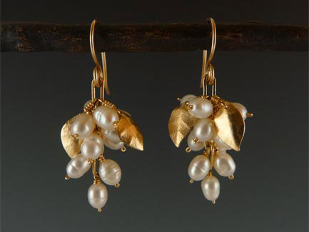 "Gold-fill and Pearl Grape Cluster Earrings. 1.5"" Long."