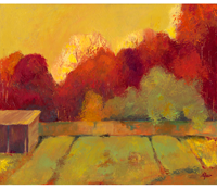 "Beverly Shaw-Starkovich ""Red Trees with Shed"""